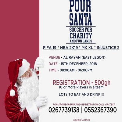 Pour Santa Soccer For Charity and Fun Games.