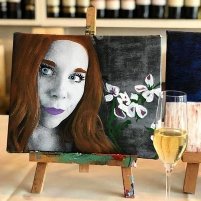 Wine & Art - Monochrome Painting