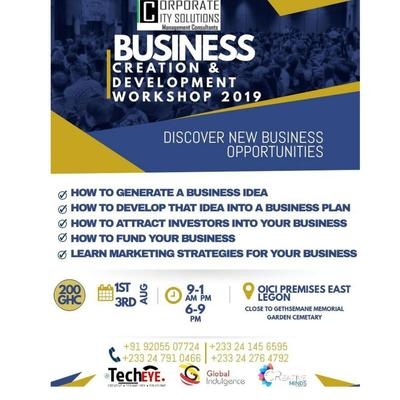 Business creation and development workshop 2019