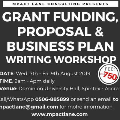 GRANT FUNDING, PROPOSAL AND BUSINESS PLAN WRITING WORKSHOP